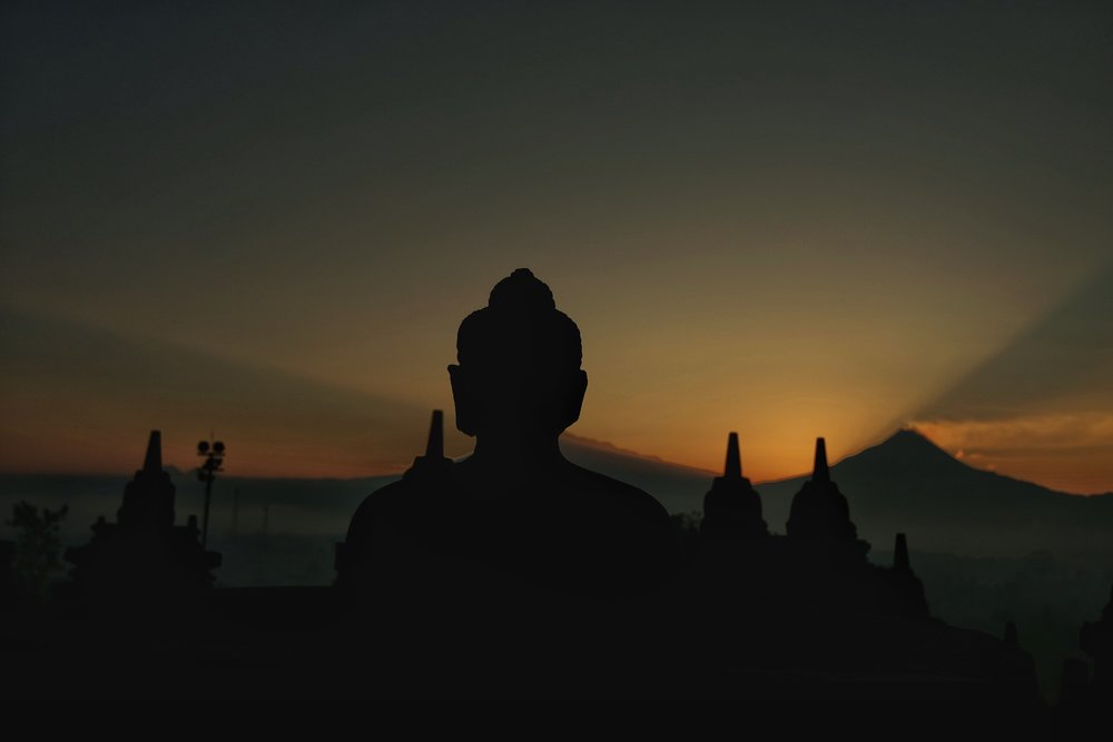Sunrise at Borobudur, Central Sumatra, Indonesia.