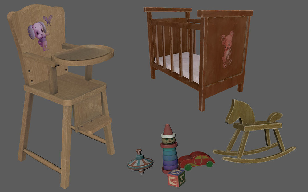 Dead Secret Circle--crib with toys (2)