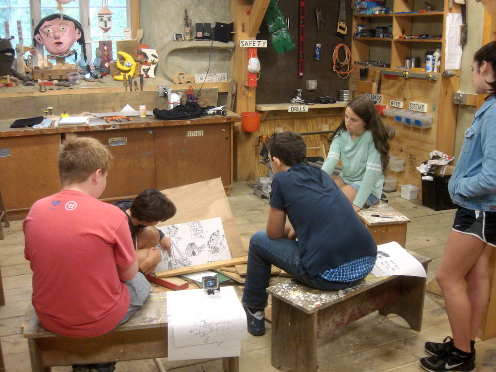 The builders, Wren, Noah, Jonas, Kaia, and Aliza, were nominated and awarded scholarships for participation on this project. They have been participating in Sculpture School programs since 2014-15.