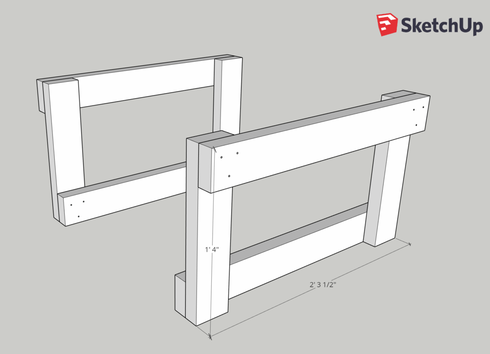 Repeat step 3 to make two identical table leg sets.