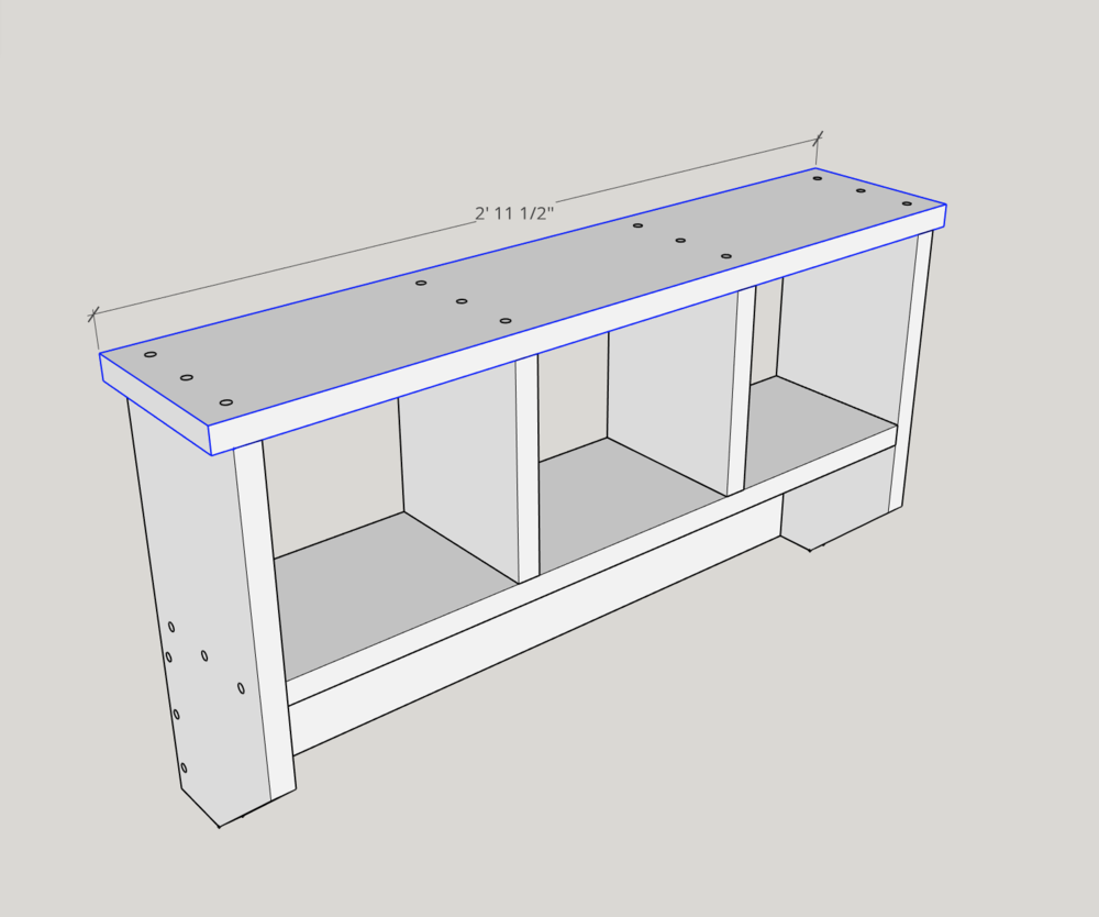 """Use (3) 2"""" screws at each connection point to screw the top piece onto the sides and cubby spacers."""
