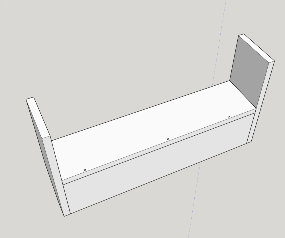 """Add (3) 2"""" screws through the shelf into the back piece. Use a speed square to ensure a right angle."""