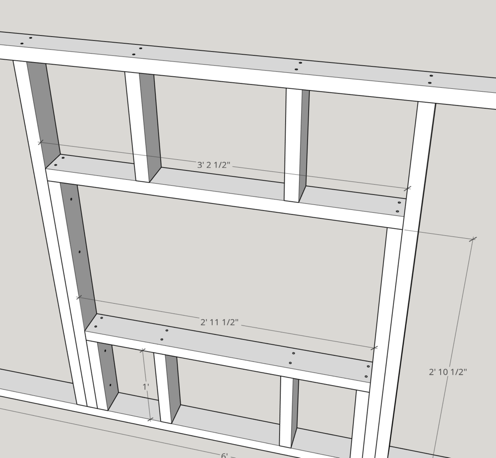 """Use (2) 2.5"""" screws at each connection point to join the window sill and header to the cripple and trimmer studs."""