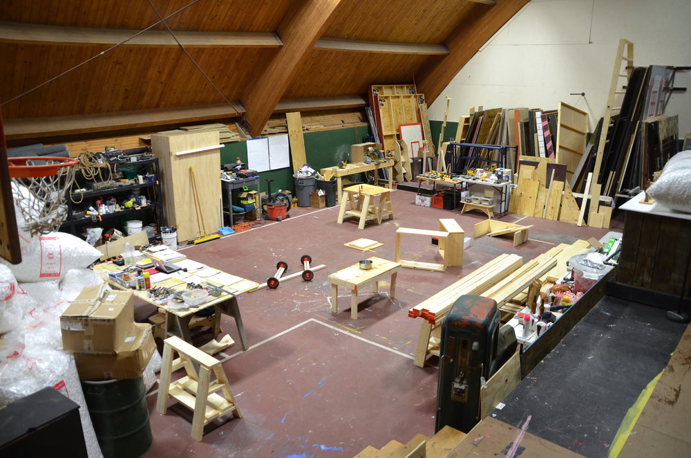 View of our workspace – the backstage area of the GMVS auditorium, the space is used in the summer months to build sets and props for the school's theater performances, and before that it was a gym.