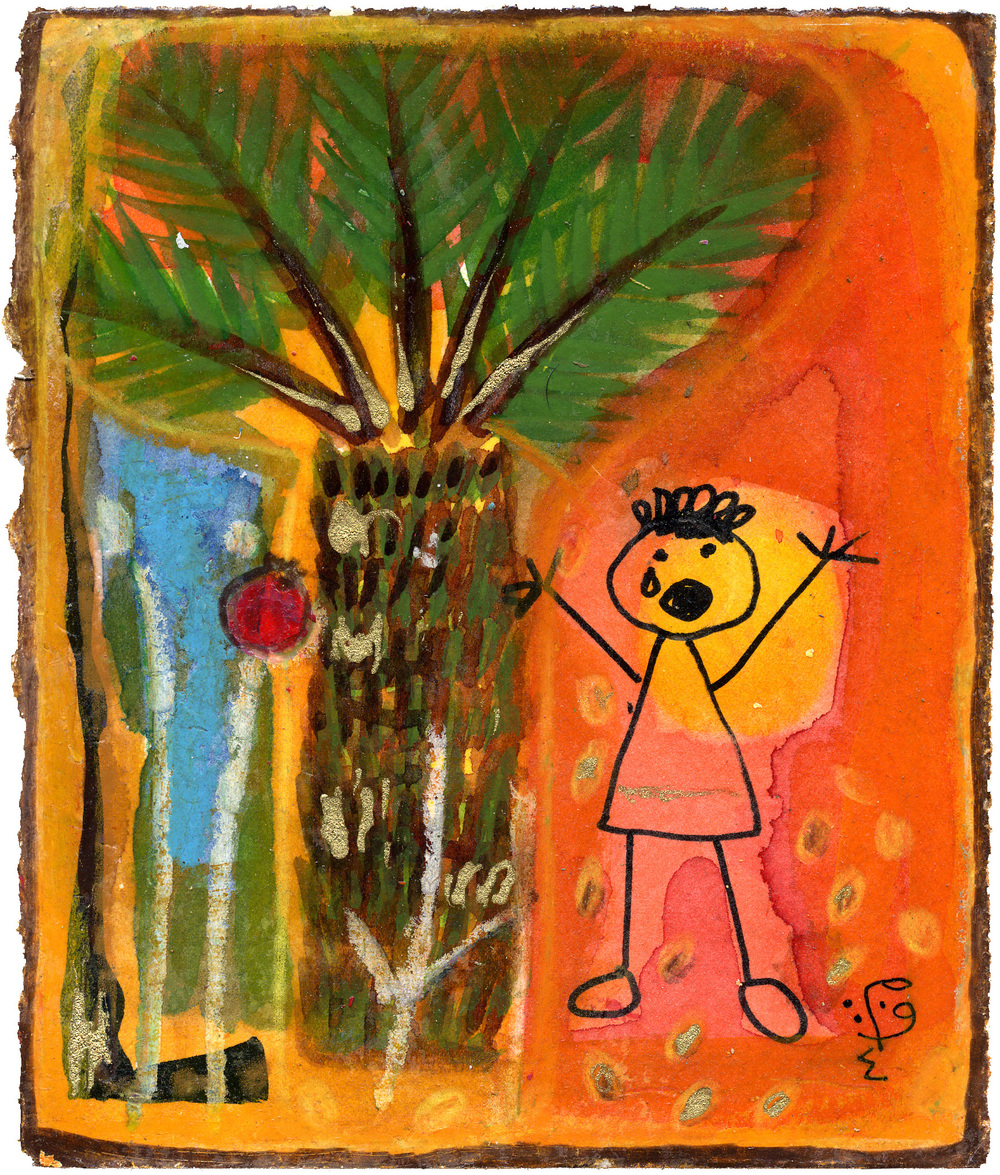 Um Ali  Weeping Palms Stolen Childhoods  Watercolor on paper 17x14cm 2004 Private Collection UK