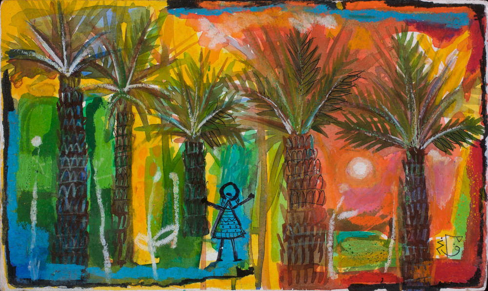 Firdaws  Weeping Palms Stolen Childhoods  Watercolor 22x17cm 2004 Nielsen Collection Qatar
