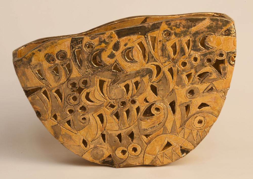 Ainaki Ghabeta Nekheel  II Boats and Burdens  Earthstone amber and gold 29x40x10cm 2008 Private Collection UK