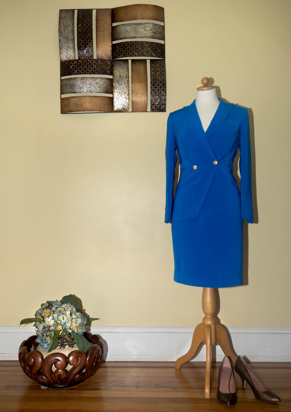 Wool Blue Suit w/ Gold Buttons.