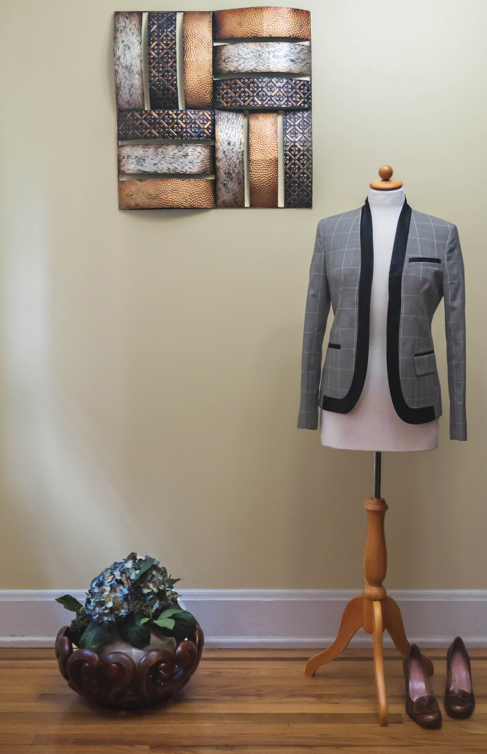 Checkered Grey and Brown Jacket with Satin Lapel