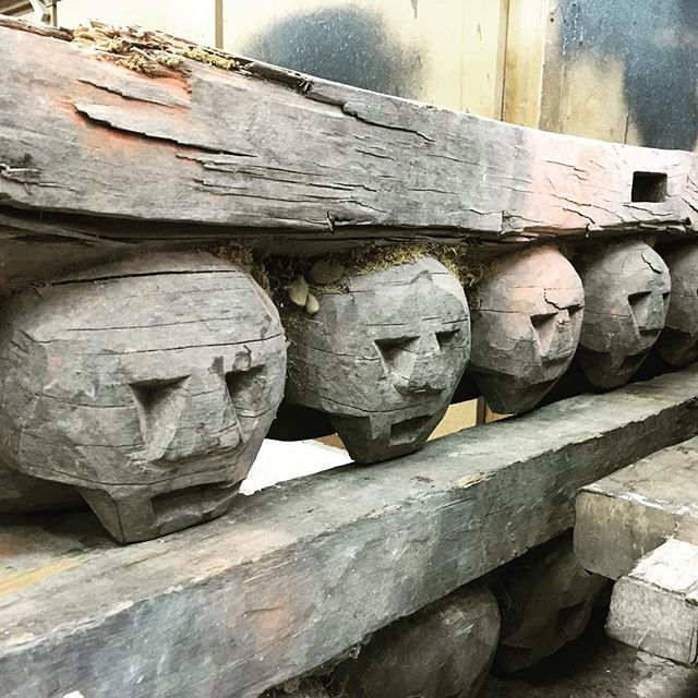 Interesting job came in today. 4 of these were found at Miller's auction house. We're turning them into a bed. #skull #tiki #bed #design