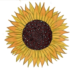"""Yellow Sunflower"" by Tamar V.S. McKee 2018 acrylic and paper"