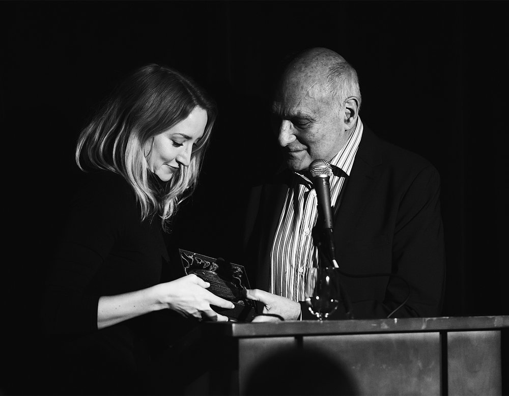 Victoria was incredibly honored to receive the Emery Battis award from the Shakespeare Theatre of D.C. for her performance as Celimene in  School for Lies . Pictured here accepting the award from Michael Kahn at a ceremony in D.C.