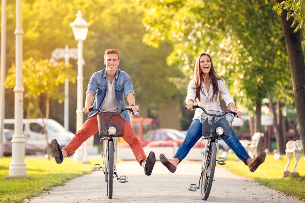 Couple Having Fun on Bikes