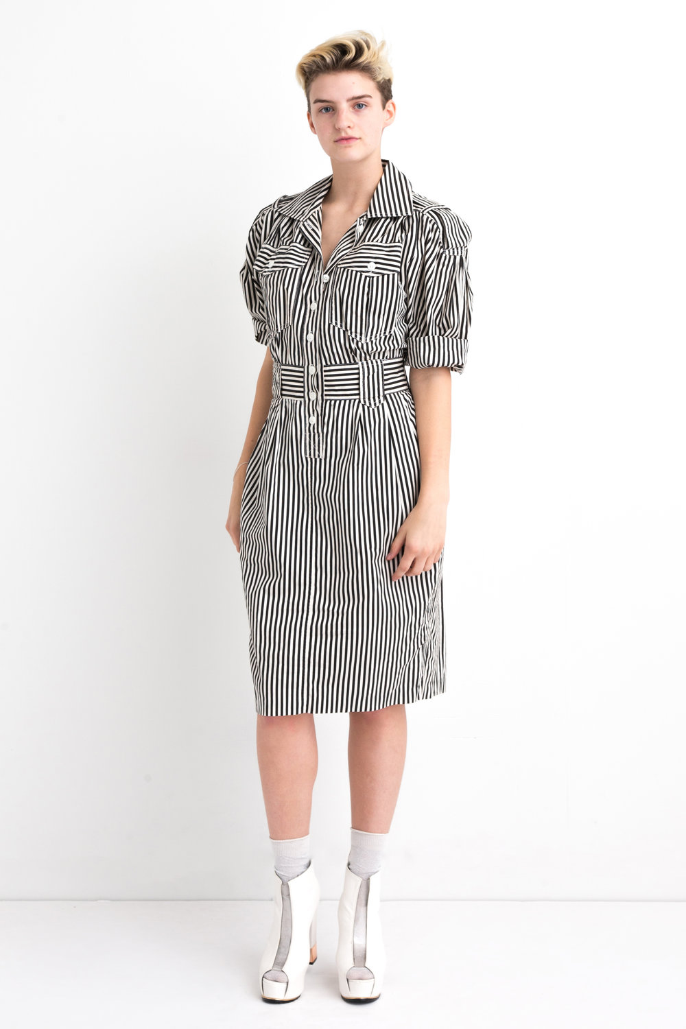 80s Black and White Striped Dress — DEAD
