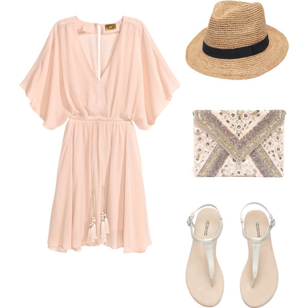 H&M Dress & Sandals - Lulus Clutch - Onekingslane Hat