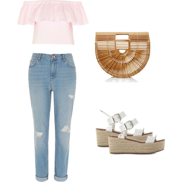 Topshop Top - River Island Jeans - Selfridges Sandals - Cult Gaia Handbag