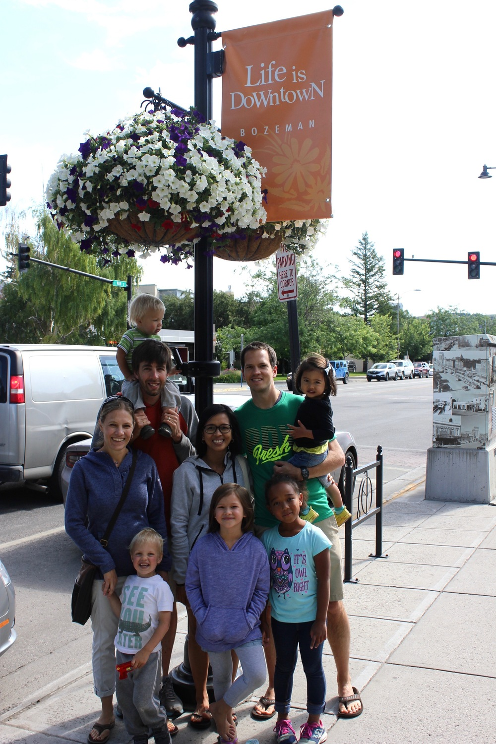Downtown Bozeman, MT with Philip, Sara, their two boys & their niece