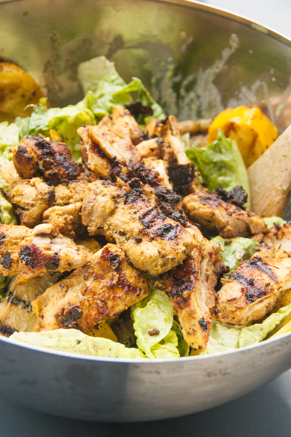 Chicken tikka salad with mint chutney - a perfect pairing of eastern and western kitchen traditions