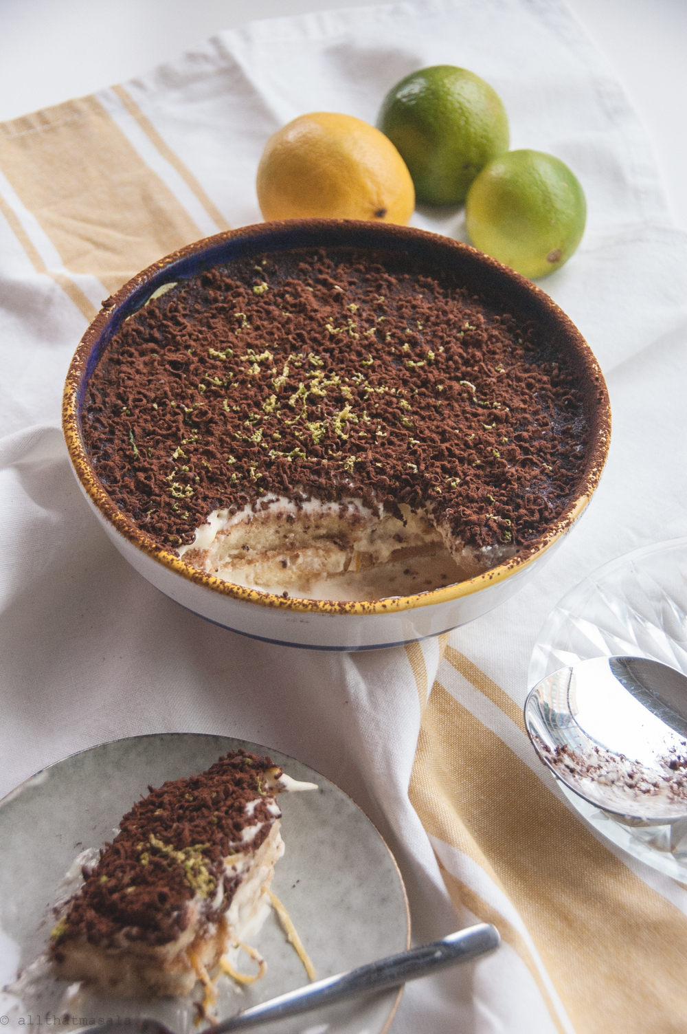 Tiramisu al imone,is a fresh and fragrant Amalfi twist to a classic Venetian dessert.LAdyfingers dipped in lemony syrup and stacked between creamy layers of mascarpone, this is a quick and no-bake dessert recipe that takes a few minutes to whisk together and 3 hours to set.