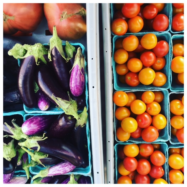 cherry tomatoes and eggplant