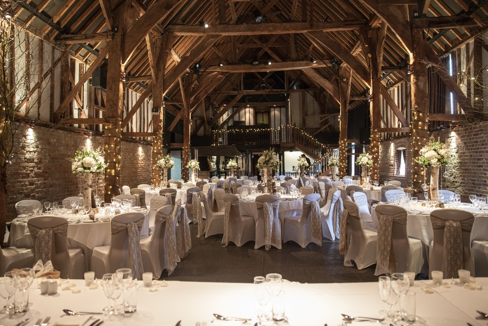 Tithe Barn set up for summer vintage style wedding breakfast