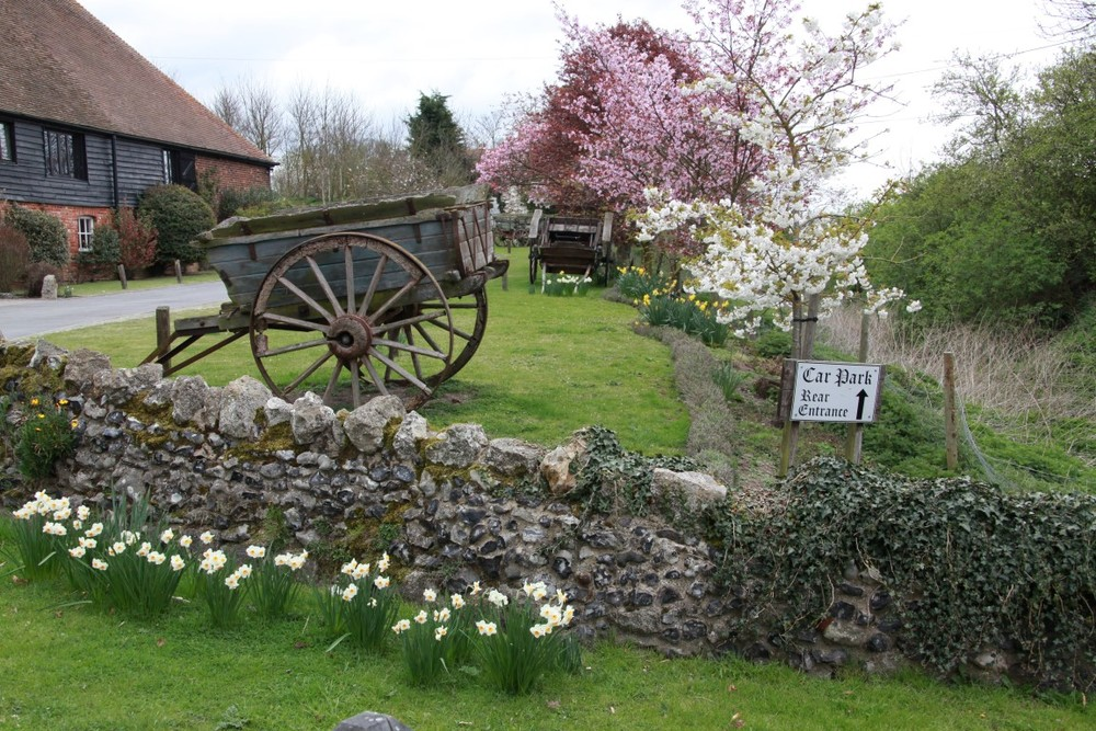 Outside the tithe barn in spring