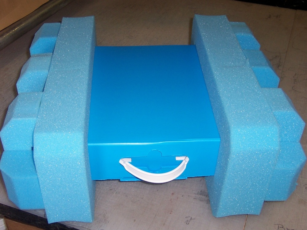 Polyurethane urethane cushioning foamend caps - Foam bracing packaging design blocking