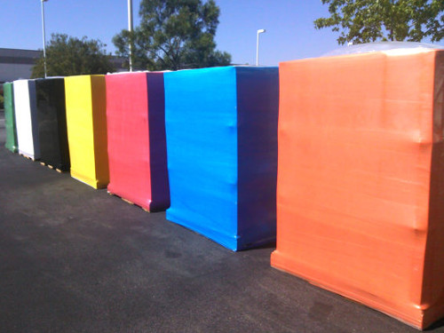 Colored stretch film pallet wraps colors available orange blue red yellow black white and green films
