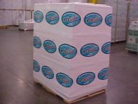 Two color imprinting on white stretch wrap for pallets