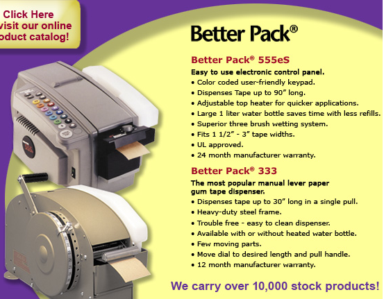 Better Pack Dispenser Gummed Tape Machines on 3m Box Taping Machines