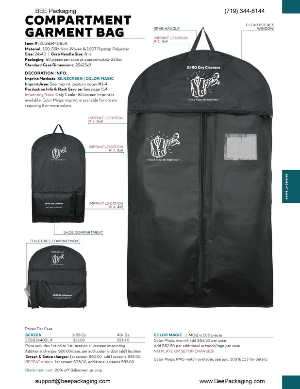Printed compartment zip up garment bags for travel or wedding