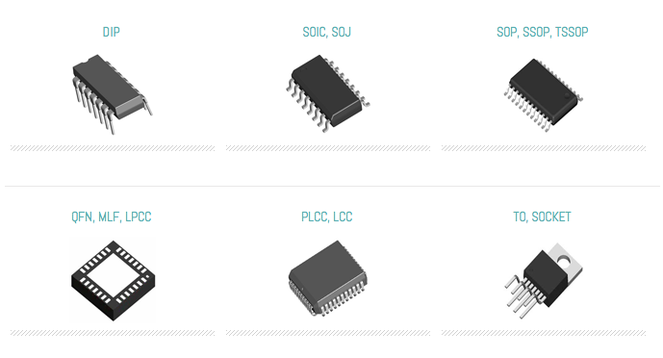 Semiconductor integrated circuits IC chip Types: dip soic soj sop ssop tssop qfn mlf lpcc plcc lcc to and socket