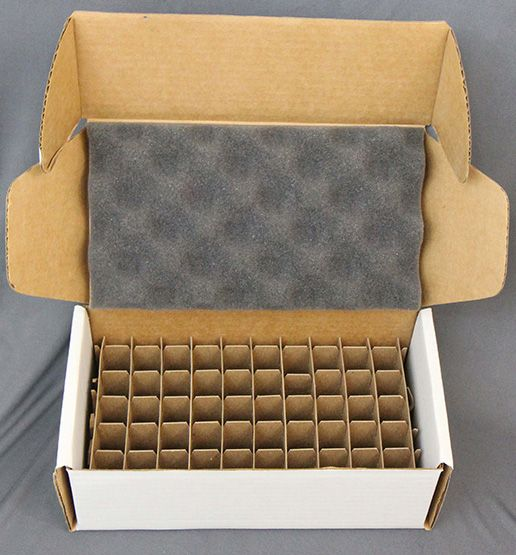 Corrugated mailer with kraft chipboard cell partition dividers