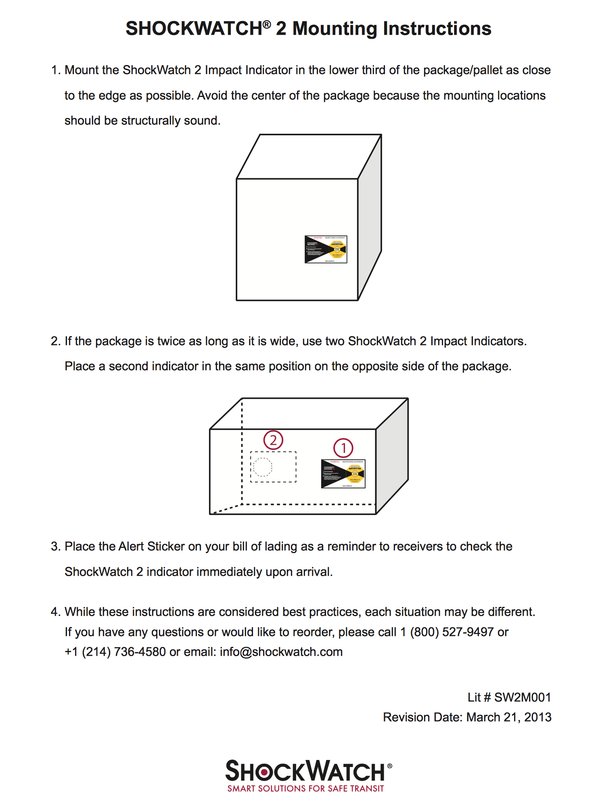 Shockwatch2 mounting instructions