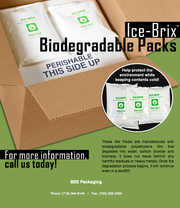 Biodegradable frozen cold shipping with ice brix gel packs