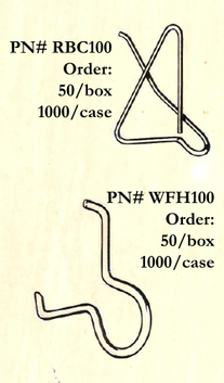 Metal wire kite clips keep flaps closed on boxes RBC100 Wire carton flap box clips (top). WFH100 wire flap open clips (bottom)