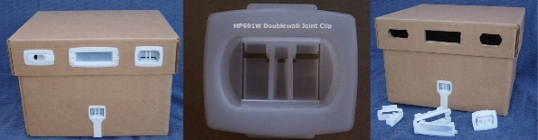 Beeclips plastic fasteners for corrugated boxes