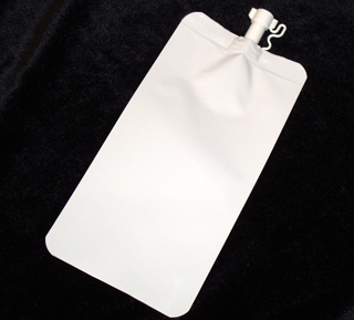 White squeeze flask pouch with spout