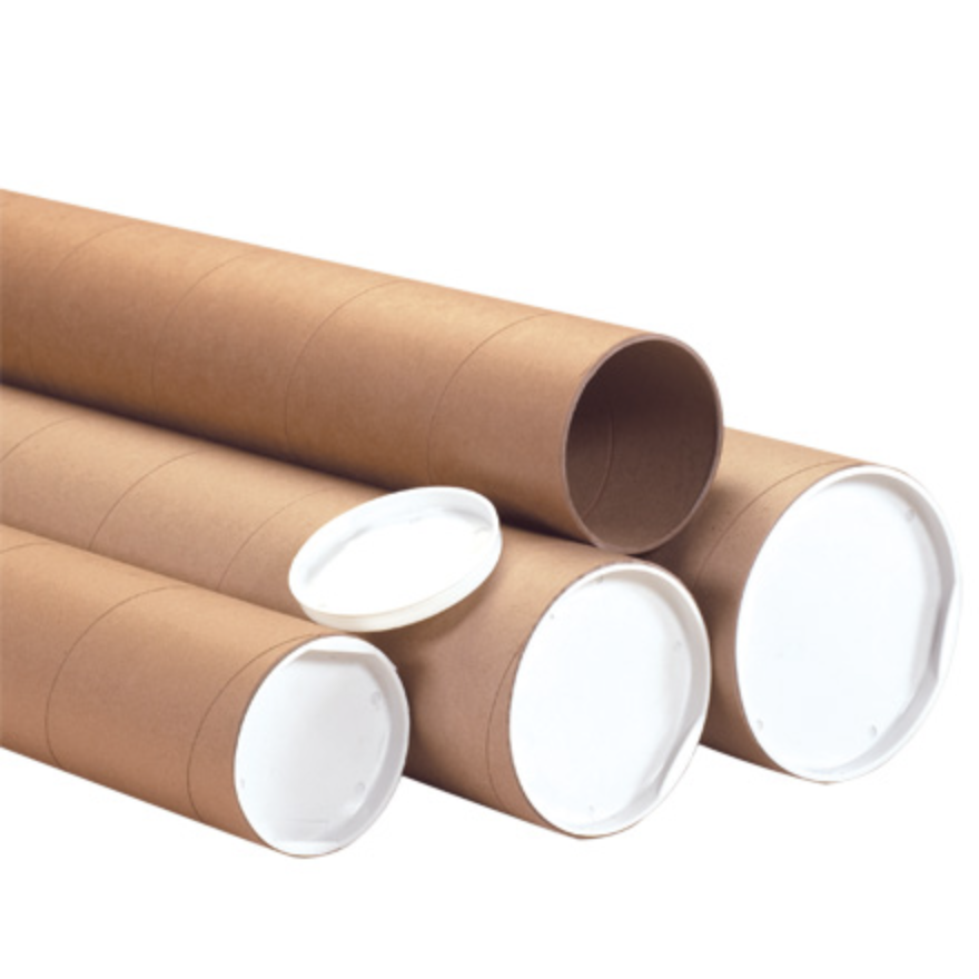 Spiral wound brown kraft mailing tubes