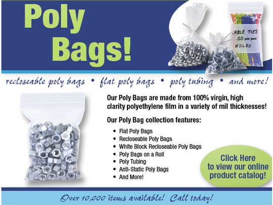 Plastic poly polyethylene bags for bagging and shipping product