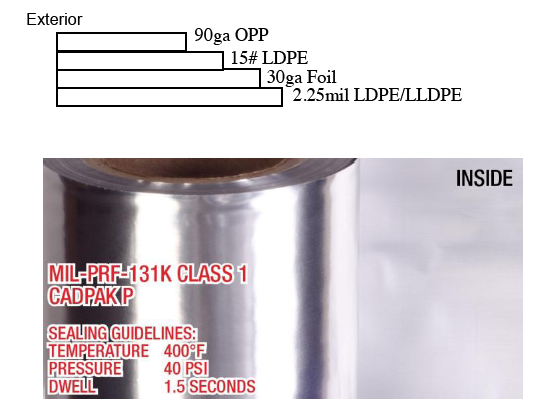 PN# BEECADPAKP Mil-PRF-131K Milb131 4.4mil Film foil poly moisture barrier military roll stock