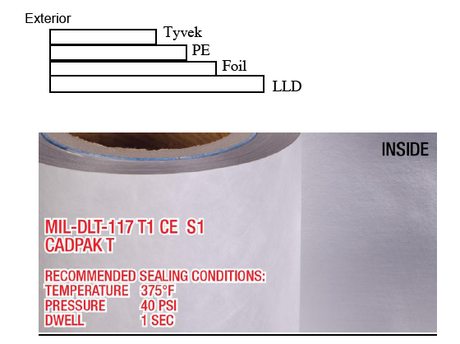 PN# BEECADPAKT Milprf131 MIL-DTL-117 Type 1, Class E, Style 1 8.5mil Tyvek Foil Poly roll stock barrier bagging material