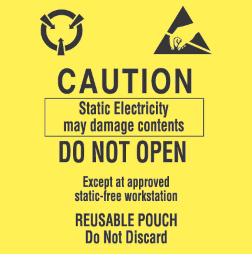 "3 x 3"" - ""Contents Subject to Static Damage"" Labels"