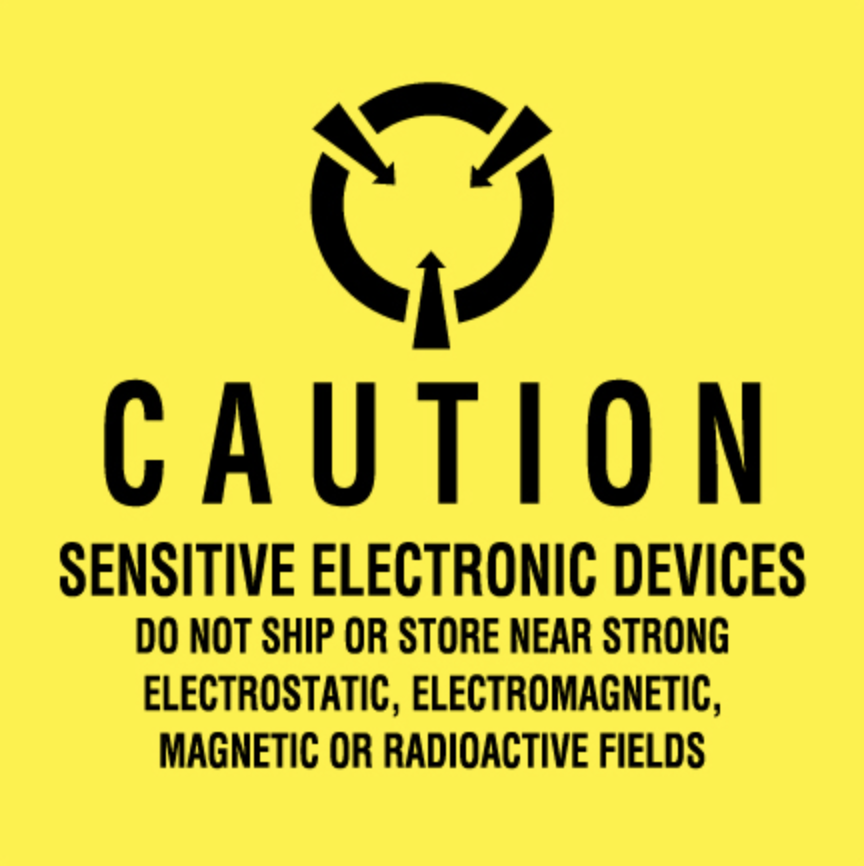 "2 x 2"" - ""Sensitive Electronic Devices"" (Fluorescent Yellow) Labels"