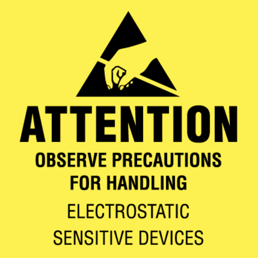 "2 x 2"" - ""Attention - Observe Precautions"" (Fluorescent Yellow) Labels"