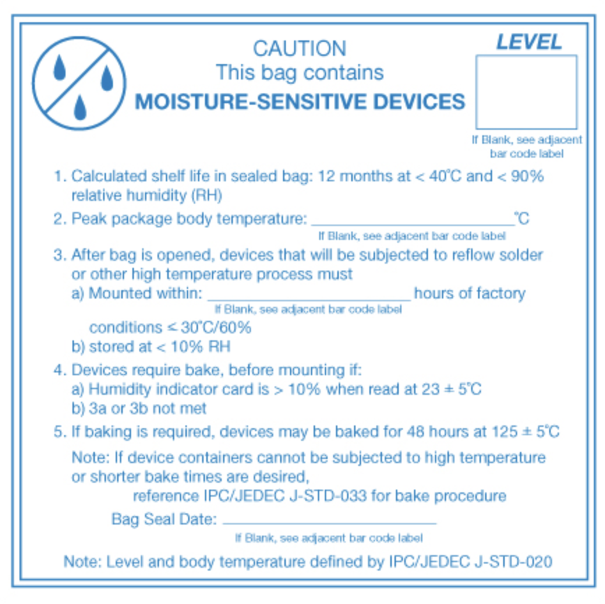 "4 x 4"" - ""Caution Moisture Sensitive Devices"" Labels Pressure sensitive label warns shippers that contents in package are moisture sensitive."