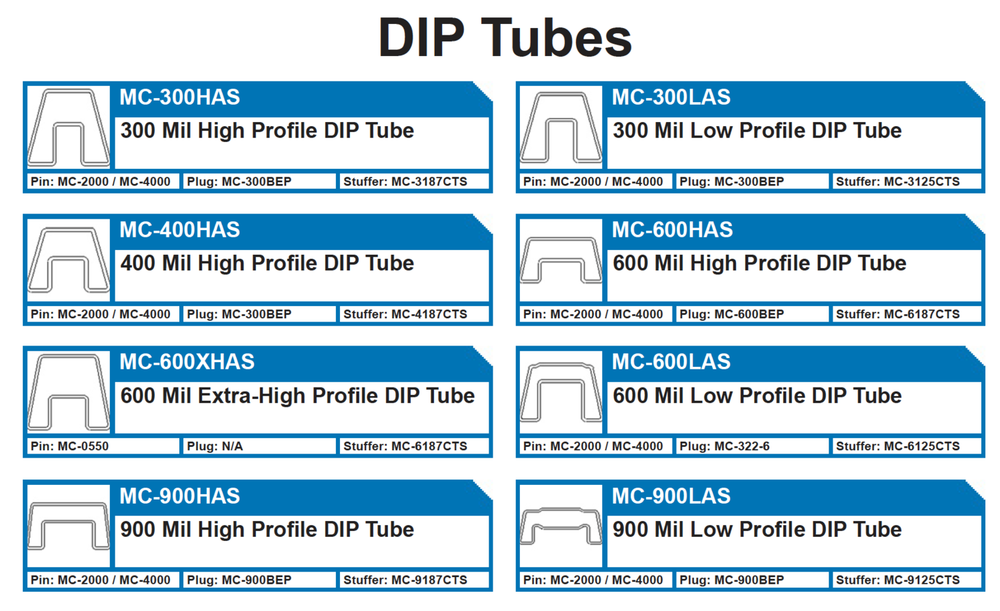 DIP TUBES   MC-300HAS 300 Mil High Profile DIP - MC-300LAS 300 Mill Low Profile DIP - MC-400HAS 400 Mil High Profile DIP  MC-600HAS 600 Mil High Profile DIP, MC-600XHAS600 - MC-600LAS Mil Low Profile DIP - MC-900HAS 900 Mil High Profile DIP  MC-900LAS 900 Mil Low Profile DIP Plastic antistatic ic shipping tubes and plugs for integrated circuits.  300DIP, 400DIP, 600DIP, 900DIP, MC-600HAS, MC-300, MC-400, MC-900, 400HAS Plugs: MC-300BEP, MC-600BEP, MC-322-6, MC-900BEP Pins: MC-2000 / MC-4000, MC-0550 Tube Stuffers: MC-3187CTS, MC-3125CTS, MC-4187CTS, MC-6187CTS, MC-6125CTS, MC-9187CTS, MC-9125CTS