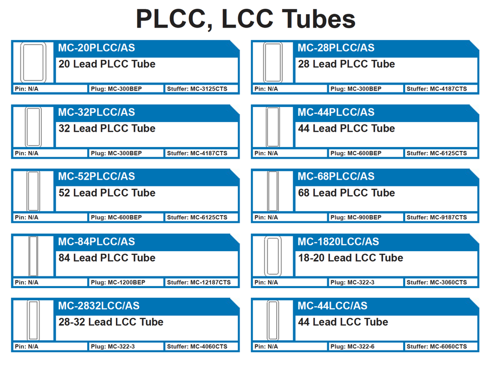 PLCC, LCC INTEGRATED CIRCUIT PLASTIC SHIPPING TUBES ANTISTATIC   MC-20PLCC/AS 20 Lead PLCC Tube - MC-28PLCC/AS 28 Lead PLCC Tube - MC-32PLCC/AS 32 Lead PLCC Tube - MC-44PLCC/AS 44 Lead PLCC Tube - MC-52PLCC/AS 52 Lead PLCC Tube - MC-68PLCC/AS 68 Lead PLCC Tube - MC-84PLCC/AS 84 Lead PLCC Tube - MC-1820LCC/AS 18-20 Lead LCC Tube - MC-2832LCC/AS 28-32 Lead LCC Tube - MC-44LCC/AS 44 Lead LCC Tube  Lead protection tubes.  18LCC, 20PLCC, 32LCC, 28PLCC, 32PLCC, 44LCC, 44PLCC, 52PLCC, 68PLCC, 84PLCC, MC-44PLCC/AS, MC-52, MC-84, MC-20  Plugs: MC-300BEP, MC-600BEP, MC-1200BEP, MC-322-3, MC-322-6 Pins: N/A Tube Stuffers: MC-3125CTS, MC-4187CTS, MC-6125CTS, MC-9187CTS, MC-2187CTS,  MC-3060CTS, MC-4060CTS, MC-6060CTS