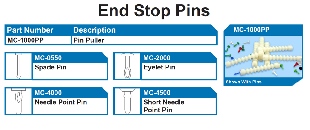 END STOP PINS   Plastic pins for ic device shipping tubes  End pins  Eyelet Pins  Plastic push pin  Plastic stoppers  Plastic pin pullers for integrated circuit tubes