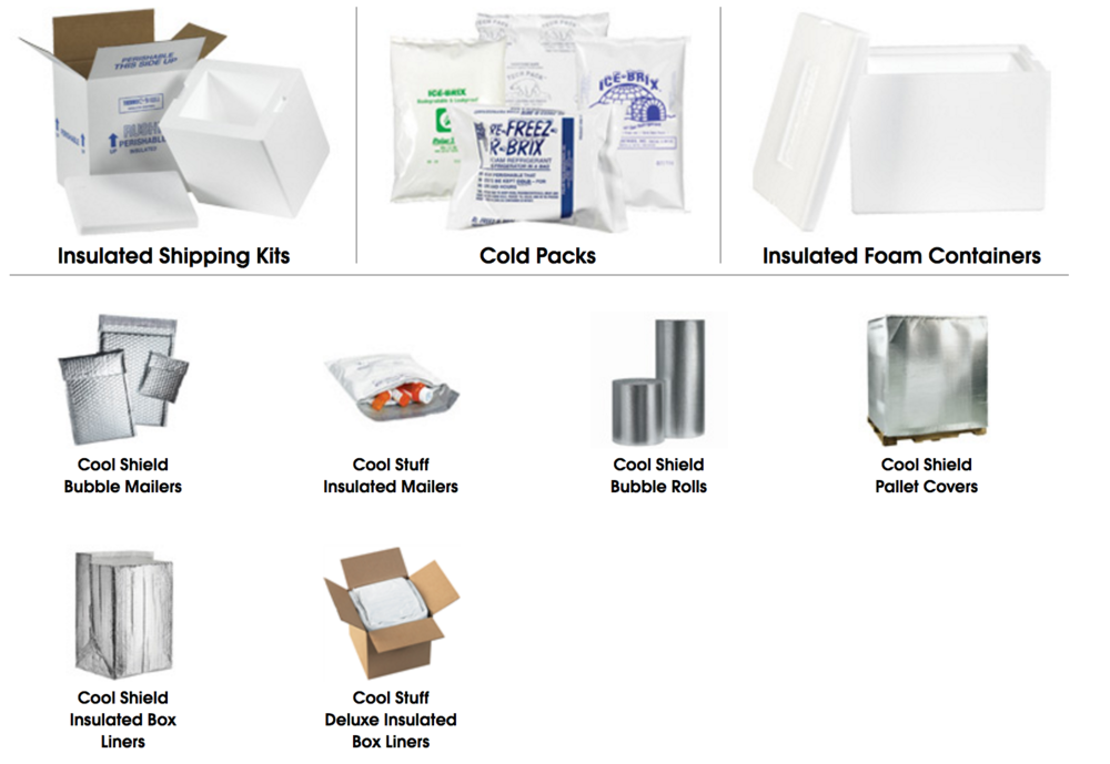 Insulated packaging shipping cold frozen transport foil bubble bags gel packs - click to order
